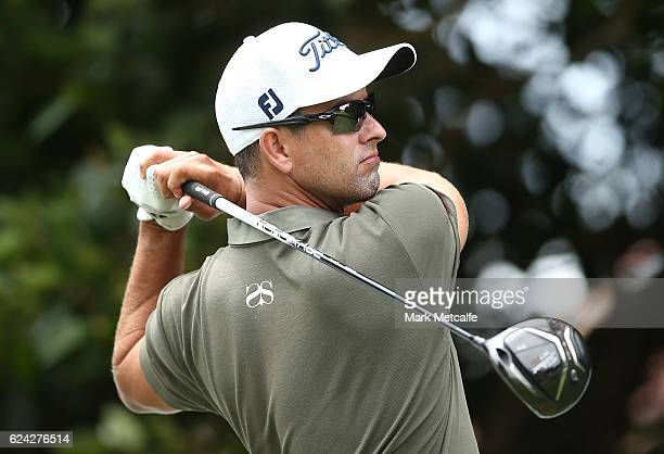 Adam Scott of Australia hits his tee shot on the 2nd hole during day three of the Australian golf Open at Royal Sydney GC at Royal Sydney Golf Club...