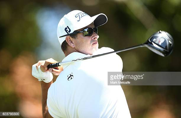 Adam Scott of Australia hits his tee shot on the 7th hole during day one of the 2016 Australian golf Open at Royal Sydney Golf Club on November 17...