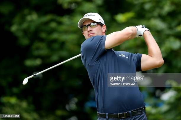 Adam Scott of Australia hits his tee shot on the first hole during the final round of the 141st Open Championship at Royal Lytham & St. Annes Golf...