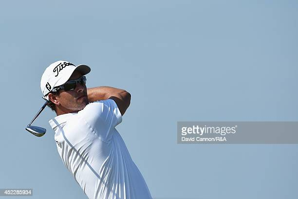 Adam Scott of Australia hits his tee shot on the ninth hole during the first round of The 143rd Open Championship at Royal Liverpool on July 17 2014...