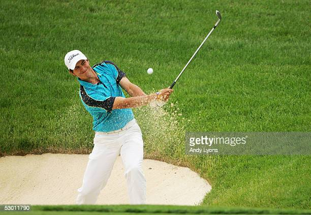 Adam Scott of Australia hits his third shot on the 14th hole during the first round of The Memorial on June 2 2005 at Muirfield Village Golf Club in...