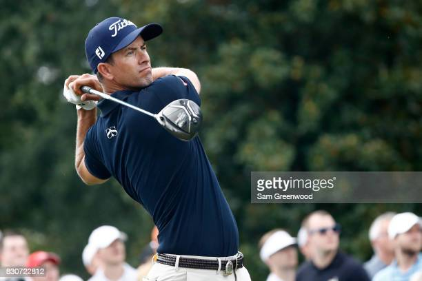 Adam Scott of Australia hits off the third tee during the third round of the 2017 PGA Championship at Quail Hollow Club on August 12 2017 in...