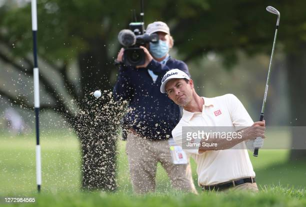 Adam Scott of Australia hits out of a bunker on the 11th hole during the first round of the 120th U.S. Open Championship on September 17, 2020 at...