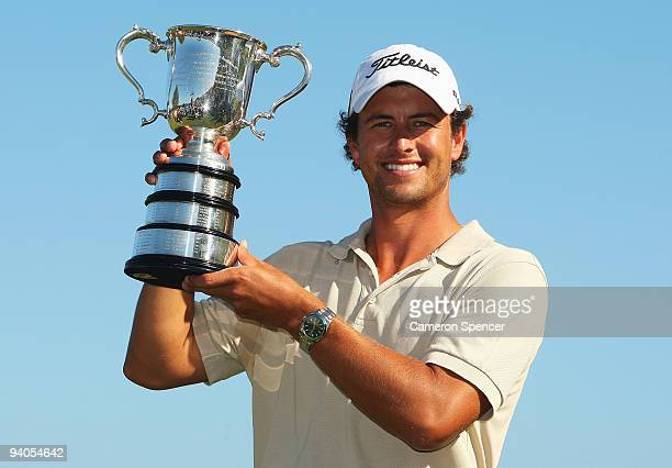 Adam Scott of Australia holds the Stonehaven Cup aloft after winning the 2009 Australian Open at New South Wales Golf Club on December 6 2009 in...