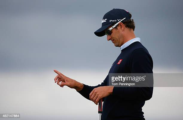 Adam Scott of Australia is seen during a practice round prior to the start of the 143rd Open Championship at Royal Liverpool on July 14 2014 in...