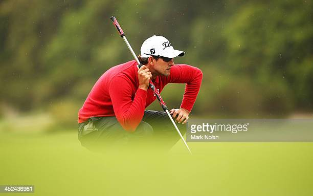 Adam Scott of Australia lines up a putt during day two of the Australian Open at Royal Sydney Golf Club on November 29, 2013 in Sydney, Australia.