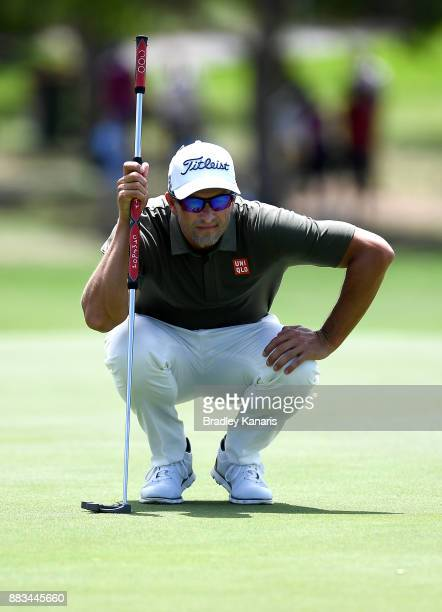 Adam Scott of Australia lines up a putt during day two of the Australian PGA Championship at Royal Pines Resort on December 1 2017 in Gold Coast...