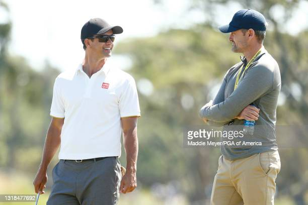 Adam Scott of Australia looks on during a practice round prior to the 2021 PGA Championship at Kiawah Island Resort's Ocean Course on May 17, 2021 in...
