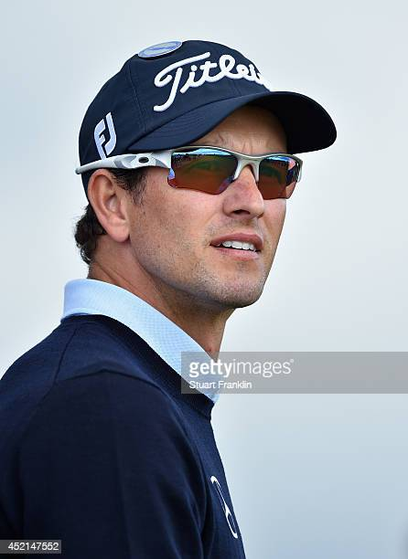 Adam Scott of Australia looks on during a practice round prior to the start of the 143rd Open Championship at Royal Liverpool on July 14 2014 in...