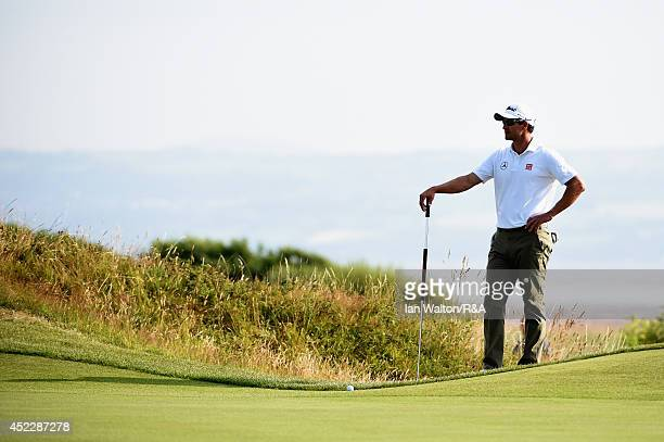 Adam Scott of Australia looks on from the 14th green during the first round of The 143rd Open Championship at Royal Liverpool on July 17 2014 in...