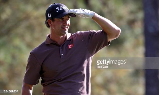 Adam Scott of Australia looks on from the first fairway during a practice round prior to the Masters at Augusta National Golf Club on November 09...