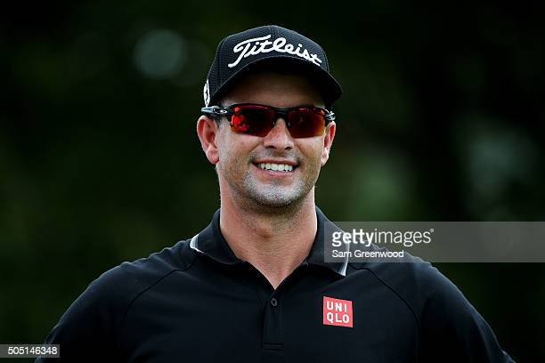 Adam Scott of Australia looks on from the first tee during the second round of the Sony Open In Hawaii at Waialae Country Club on January 15 2016 in...
