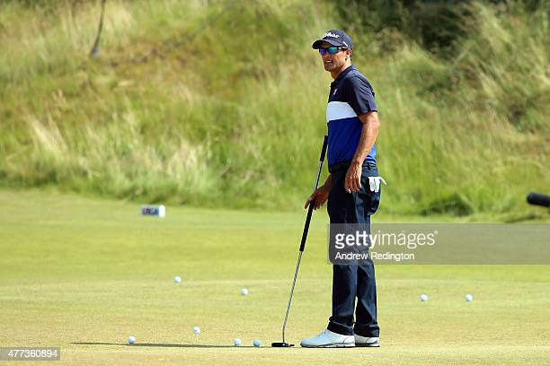 Adam Scott of Australia looks over a green during a practice round prior to the start of the 115th US Open Championship at Chambers Bay on June 16...