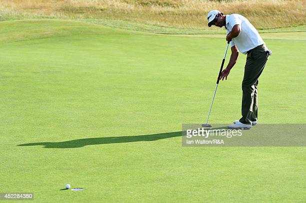Adam Scott of Australia misses a putt on 15th green during the first round of The 143rd Open Championship at Royal Liverpool on July 17 2014 in...