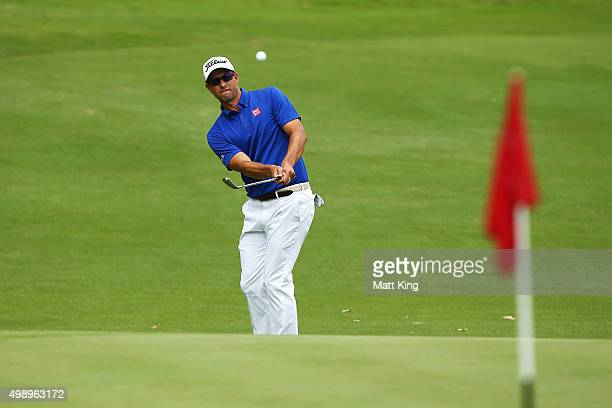 Adam Scott of Australia pitches onto the 1st green during day three of the 2015 Australian Open at The Australian Golf Club on November 28 2015 in...