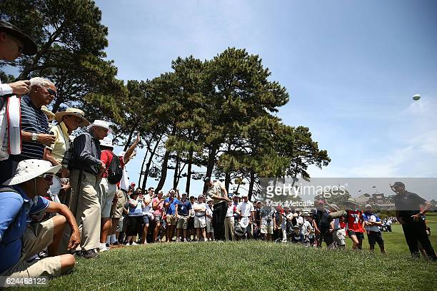 Adam Scott of Australia plays a chip shot on the 1st hole during day four of the 2016 Australian golf Open at Royal Sydney Golf Club on November 20...