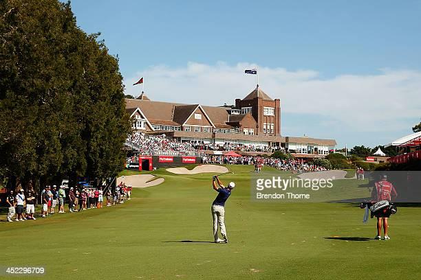 Adam Scott of Australia plays a fairway shot during day one of the 2013 Australian Open at Royal Sydney Golf Club on November 28, 2013 in Sydney,...