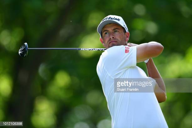 Adam Scott of Australia plays a shot during a practice round prior to the 2018 PGA Championship at Bellerive Country Club on August 6 2018 in St...