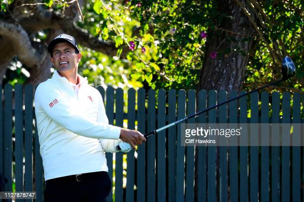 Adam Scott of Australia plays a shot during a practice round prior to the ATT Pebble Beach ProAm at Pebble Beach Golf Links on February 06 2019 in...