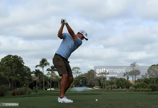 Adam Scott of Australia plays a shot during a practice round prior to the Honda Classic at PGA National Resort and Spa on February 27 2019 in Palm...