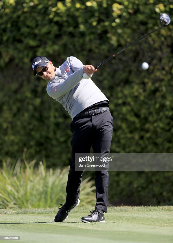 Adam Scott of Australia plays a shot during a practice round prior to the Arnold Palmer Invitational Presented By MasterCard at Bay Hill Club and Lodge on March 13, 2018 in Orlando, Florida.