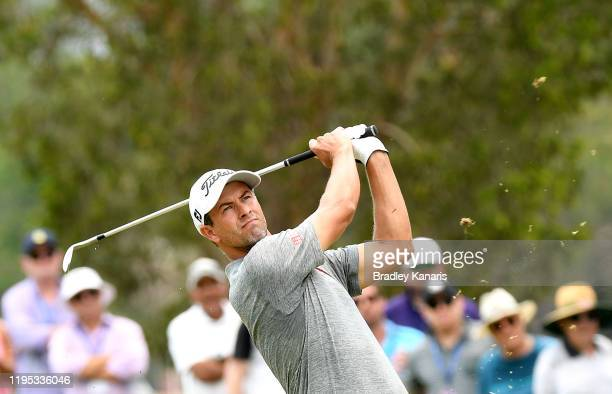 Adam Scott of Australia plays a shot during day four of the PGA Championships at RACV Royal Pines on December 22, 2019 in Gold Coast, Australia.