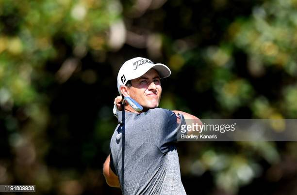 Adam Scott of Australia plays a shot during day one of the PGA Championships at RACV Royal Pines on December 19 2019 in Gold Coast Australia