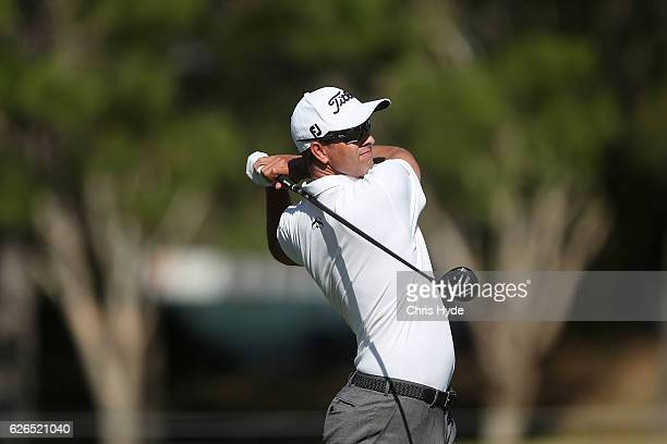 Adam Scott of Australia plays a shot during the ProAm ahead of the 2016 Australian PGA Championship at RACV Royal Pines Resort on November 30 2016 in...