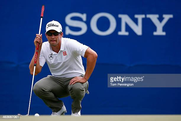 Adam Scott of Australia plays a shot during the third round of the Sony Open in Hawaii at Waialae Country Club on January 11 2014 in Honolulu Hawaii