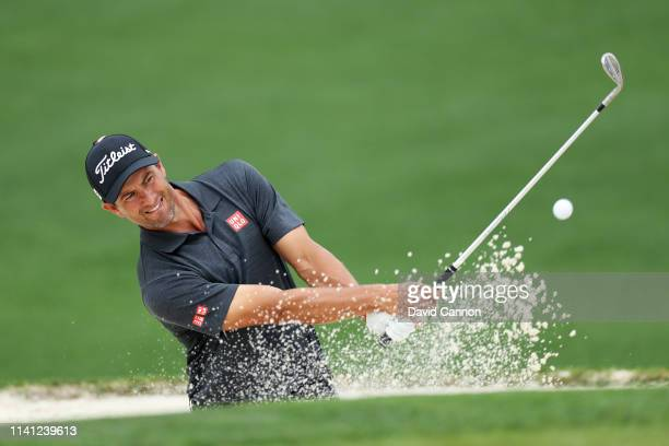 Adam Scott of Australia plays a shot from a bunker during a practice round prior to The Masters at Augusta National Golf Club on April 08, 2019 in...