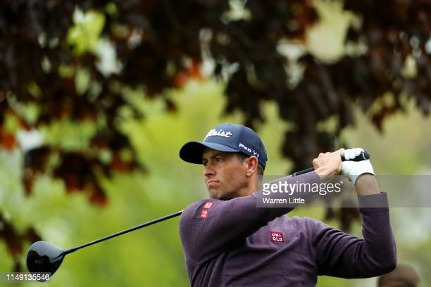 Adam Scott of Australia plays a shot from the sixth tee during a practice round prior to the 2019 PGA Championship at the Bethpage Black course on...