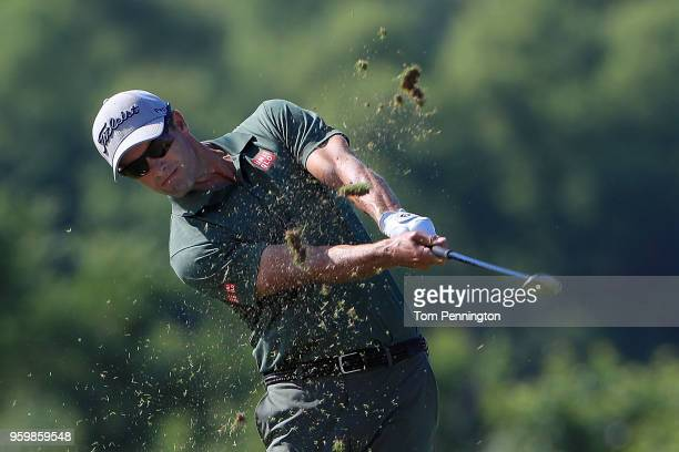 Adam Scott of Australia plays a shot on the 16th hole during the second round of the ATT Byron Nelson at Trinity Forest Golf Club on May 18 2018 in...