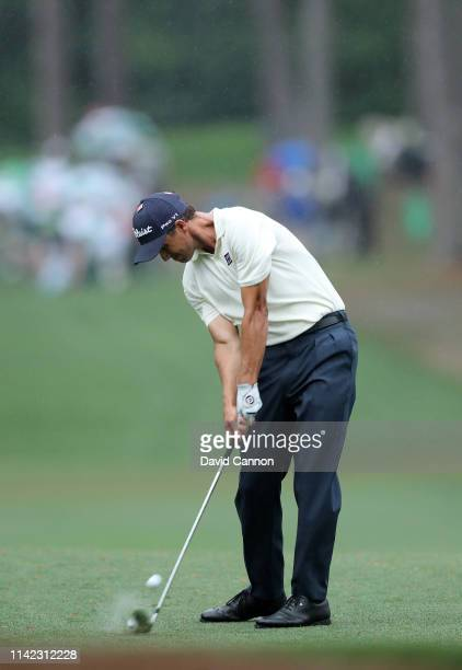 Adam Scott of Australia plays a shot on the 17th hole during the second round of the Masters at Augusta National Golf Club on April 12 2019 in...