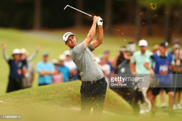 Adam Scott of Australia plays a shot on the 18th hole during day four of the PGA Championships at RACV Royal Pines on December 22 2019 in Gold Coast...