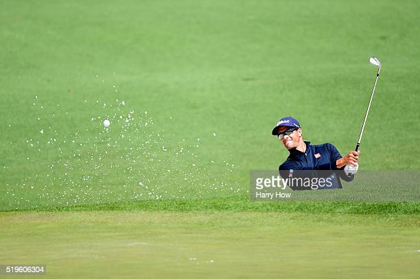 Adam Scott of Australia plays a shot on the second hole during the first round of the 2016 Masters Tournament at Augusta National Golf Club on April...