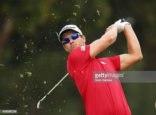 Adam Scott of Australia plays a shot out on the third hole during day three of the Australian Masters at The Metropolitan Golf Course on November 22,...