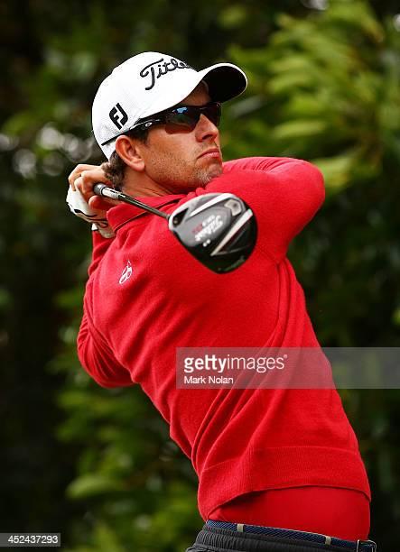 Adam Scott of Australia plays a tee shot during day two of the Australian Open at Royal Sydney Golf Club on November 29, 2013 in Sydney, Australia.