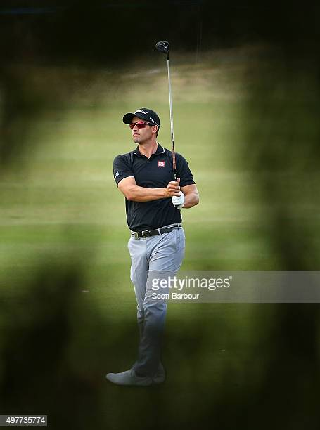 Adam Scott of Australia plays an approach shot during day one of the 2015 Australian Masters at Huntingdale Golf Course on November 19, 2015 in...