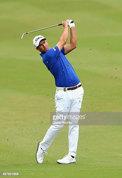 Adam Scott of Australia plays an approach shot during day two of the 2015 Australian Masters at Huntingdale Golf Club on November 20 2015 in...
