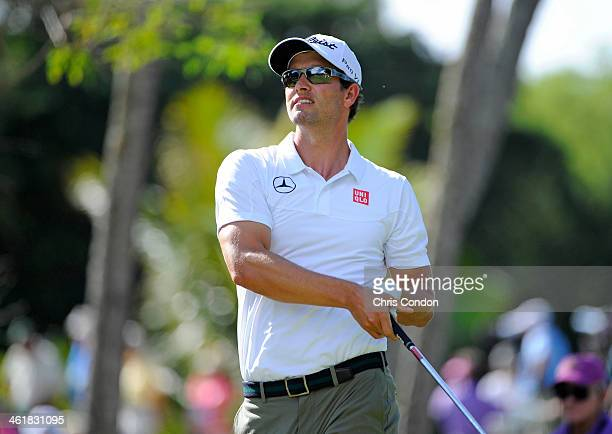 Adam Scott of Australia plays from the 4th tee during the third round of the Sony Open in Hawaii at Waialae Country Club on January 11 2014 in...