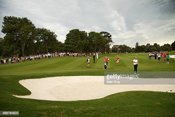 Adam Scott of Australia plays his approach shot on the 18th hole during day one of the 2015 Australian Open at The Australian Golf Club on November...