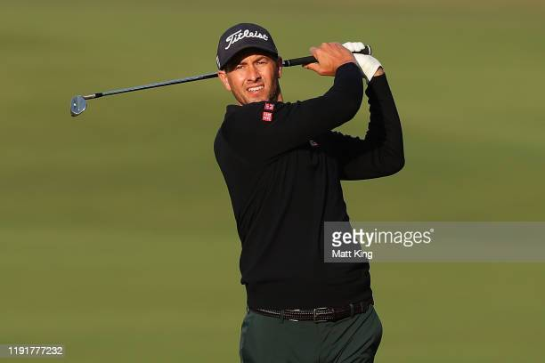 Adam Scott of Australia plays his fairway shot on the 1st hole during the Pro Am event ahead of the 2019 Australian Golf Open at The Australian Golf...