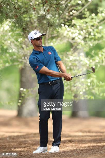 Adam Scott of Australia plays his second shot on the 11th hole during the second round of the 2018 Masters Tournament at Augusta National Golf Club...