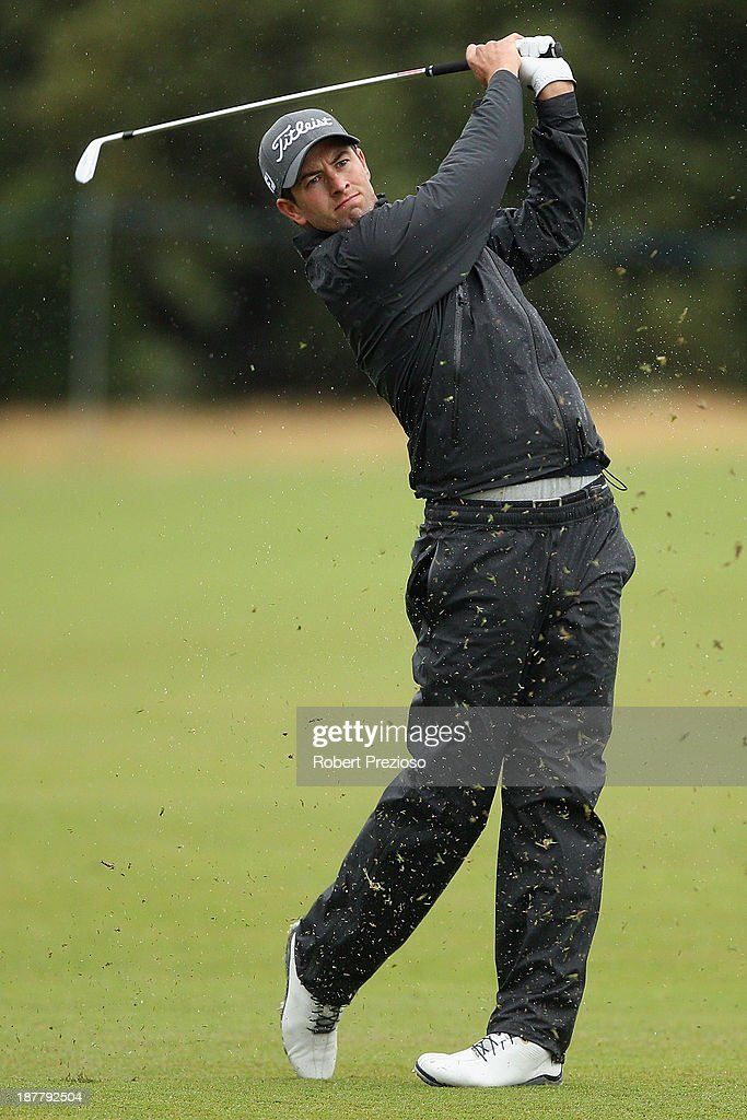 Adam Scott of Australia plays his second shot on the 4th hole during the Pro Am ahead of the 2013 Australian Masters at Royal Melbourne Golf Course on November 13, 2013 in Melbourne, Australia.