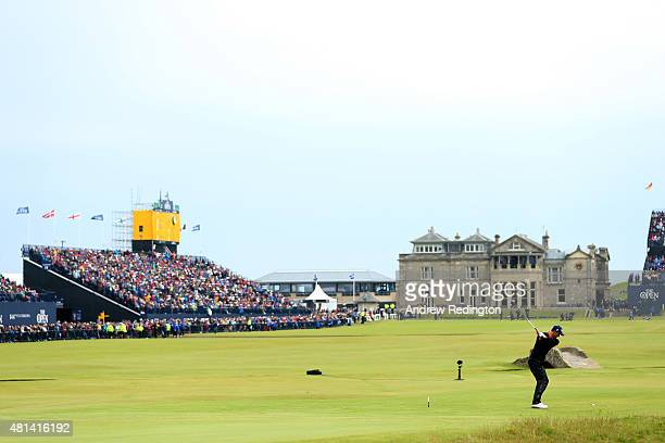 Adam Scott of Australia plays his second tee shot on the 18th hole uring the final round of the 144th Open Championship at The Old Course on July 20,...