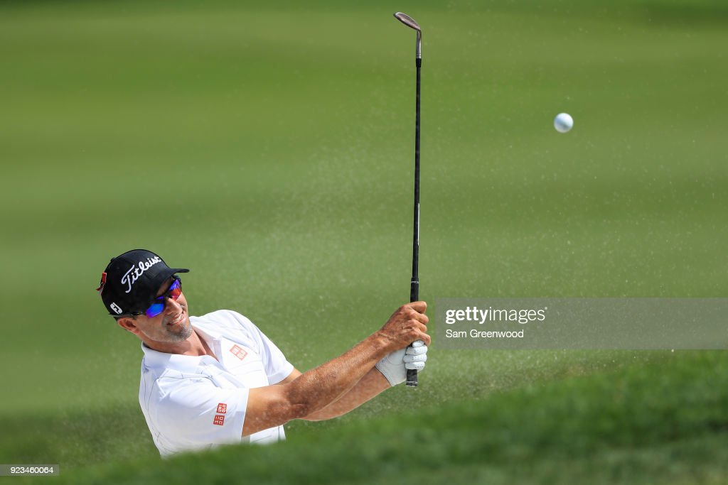 Adam Scott of Australia plays his shot at the fourth hole during the second round of the Honda Classic at PGA National Resort and Spa on February 23, 2018 in Palm Beach Gardens, Florida.