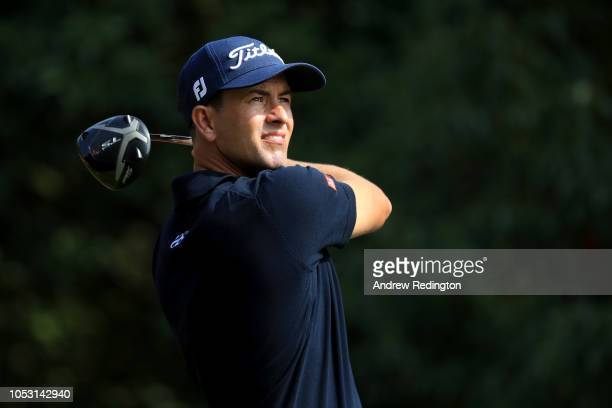 Adam Scott of Australia plays his shot from the 14th tee during the first round of the WGC HSBC Champions at Sheshan International Golf Club on...