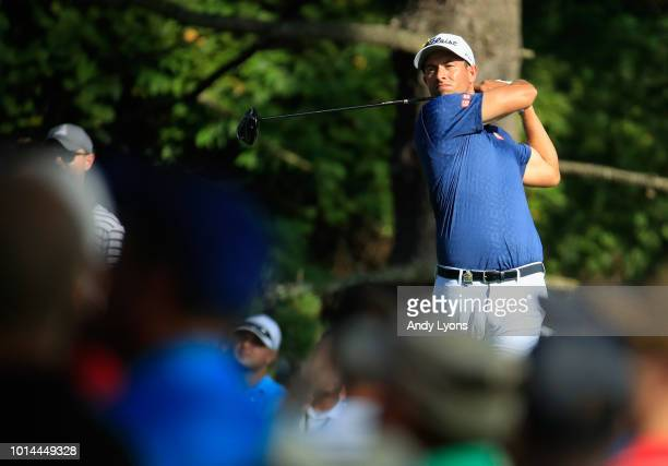 Adam Scott of Australia plays his shot from the 15th tee during the second round of the 2018 PGA Championship at Bellerive Country Club on August 10...