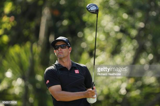 Adam Scott of Australia plays his shot from the 15th tee during the first round of THE PLAYERS Championship on the Stadium Course at TPC Sawgrass on...