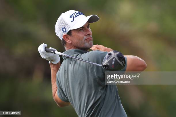 Adam Scott of Australia plays his shot from the eighth tee during the second round of the Honda Classic at PGA National Resort and Spa on March 01...